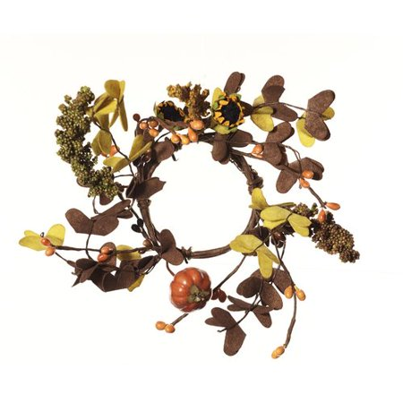 Shea's Wildflowers Fall Festive Pumpkin and Sunflower Candle Ring Wreath (Set of 2)