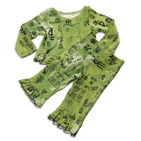 Psketti - Baby Girls Long Sleeve Crushed Velour Pant Set Olive / 12 Months