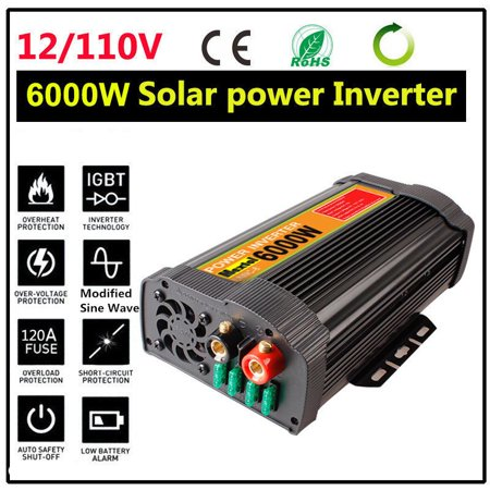 6000W  Peak 12000W Solar Power Inverter 12V DC To 110V AC Modified Sine Wave Converter Adapter Switch Over Temperature Protection 2-USB  Port for Car Outdoor (12v True Sine Wave Inverter)