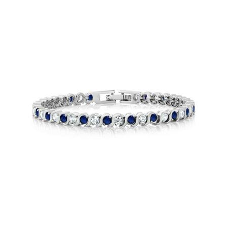 Baguette Blue Sapphire Bracelet - Stunning Round White Cubic Zirconia and Simulated Blue Sapphire Tennis Bracelet