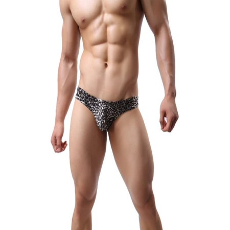 Esho Men Mid Rise Leopard Print Waistband Briefs Underwear M-2XL