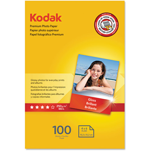 "Kodak Premium Photo Paper, 8.5 mil, Glossy, 4"" x 6"", 100 Sheets/Pack"