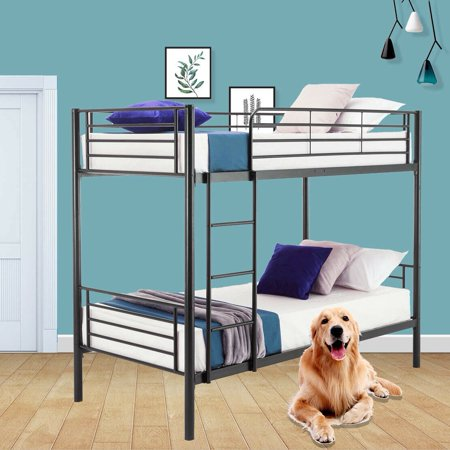 Metal Iron Bed Bunk Bed with Ladder for Kids Twin Size Easy Assembly Frame W/Ladder Kids Adult Children Bedroom Furniture(Black) (Bunk Beds For Toddlers)