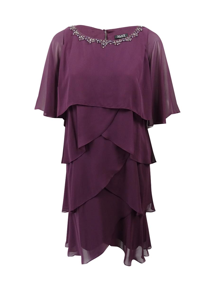 c69685a2b15 SL Fashions Women s Plus Size Embellished Tiered Chiffon Dress