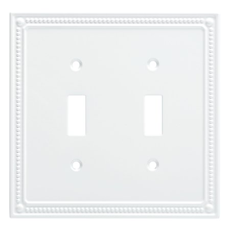 - Franklin Brass Classic Beaded Double Switch Wall Plate in Pure White