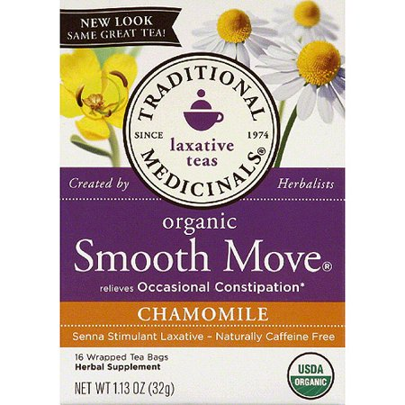 TRADITIONAL MEDICINALS Smooth Move bio Camomille Sacs à base de plantes de thé, 16 count, (Pack de 6)