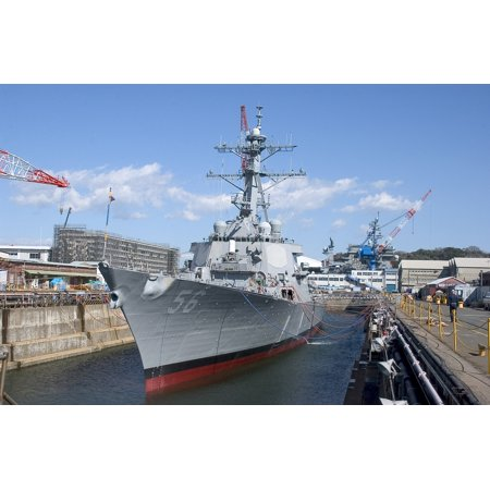 Laminated Poster The Arleigh Burke Class Guided Missile Destroyer Uss John S  Mccain  Ddg 56  Waits To Depart Dry Do Poster Print 24 X 36