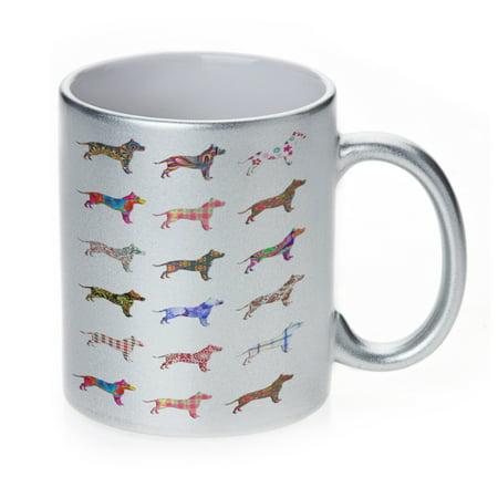 KuzmarK Silver Sparkle Coffee Cup Mug 11 Ounce - American Staffordshire Terrier Dog