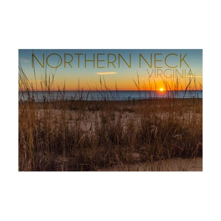 Northern Neck, Virginia - Beach and Sunrise Print Wall Art By Lantern