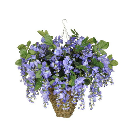 House of silk flowers inc artificial wisteria hanging plant in house of silk flowers inc artificial wisteria hanging plant in square basket mightylinksfo