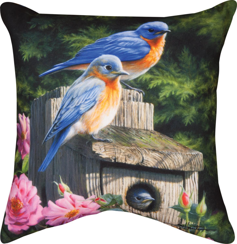 "18"" Birdhouse Blues Decorative Outdoor Patio Throw Pillow"