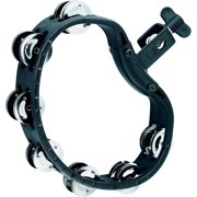 Meinl MEINL HTMT4BK Mountable Guiro Tambourine with Double Row Steel Jingles Black