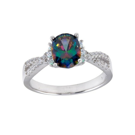 Mystic Synthetic Topaz Clear CZ Twisted B& Ring Sterling Silver Size 8