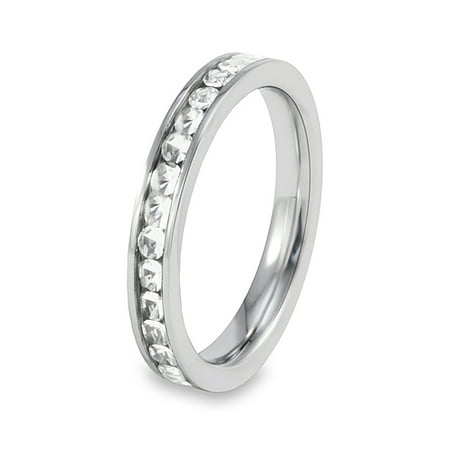 Polished Cubic Zirconia Eternity Stainless Steel Ring