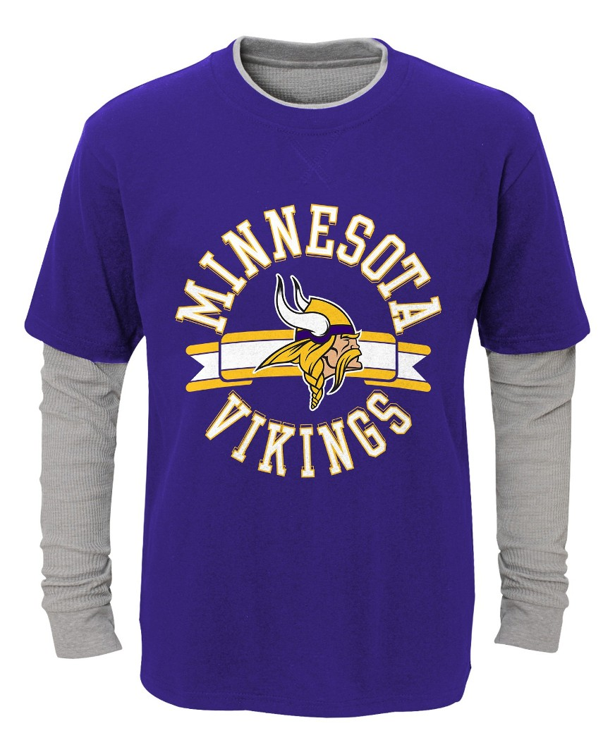 "Minnesota Vikings Youth NFL ""Definitive"" L S Faux Layer Thermal Shirt by Outerstuff"