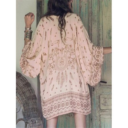Women Boho Printed Chiffon Loose Shawl Kimono Cardigan Tops Cover up Blouse