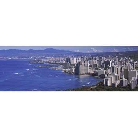 High angle view of a city at waterfront Honolulu Oahu Honolulu County Hawaii USA 2010 Canvas Art - Panoramic Images (18 x 6) - Party City Oahu