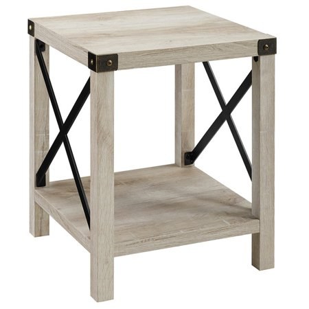 Bedroom Oak Accent Table - 18 inch Metal X Side Table in White Oak