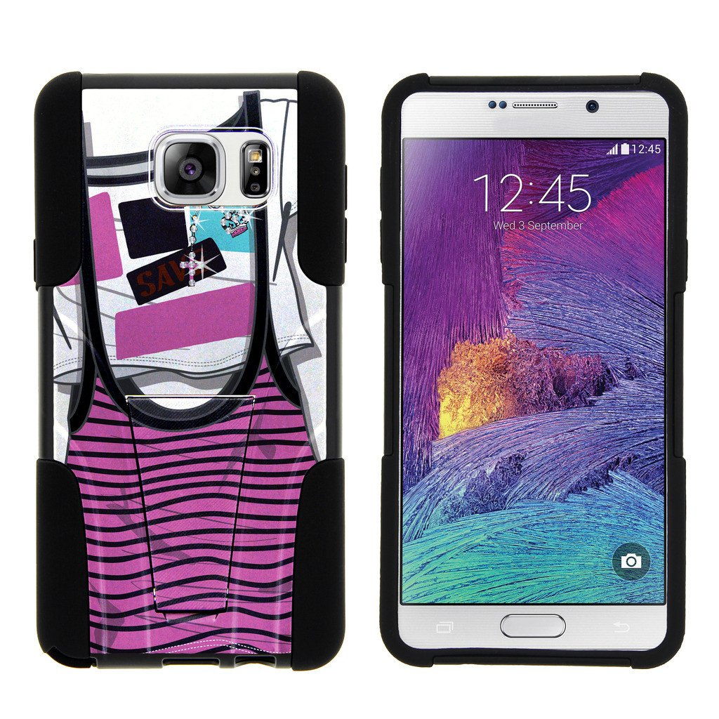 Samsung Galaxy Note 5 N920 STRIKE IMPACT Dual Layer Shock Absorbing Case with Built-In Kickstand - Lavender Swamp