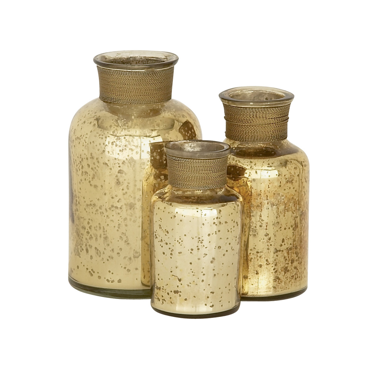 DecMode Metal Decorative Bottle - Set of 3