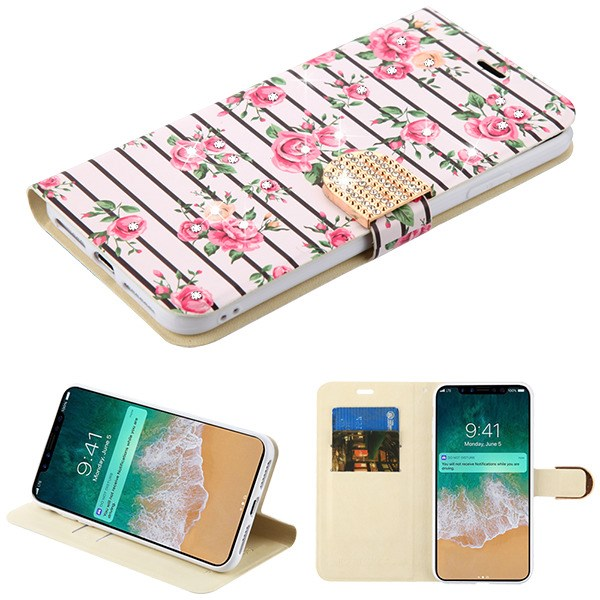 Apple iPhone Xs Max (6.5 Inch) - Phone Case Leather Flip Wallet Case Cover Stand Pouch Book Magnetic Buckle Pink Fresh Roses Diamante Bling Phone Case for Apple iPhone Xs Max