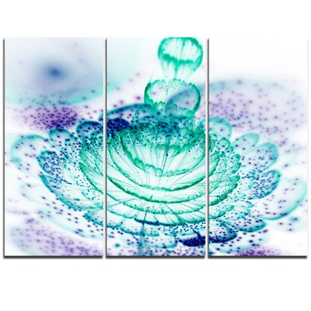 Design Art Glossy Light Blue Fractal Flower - 3 Piece Graphic Art on Wrapped Canvas Set