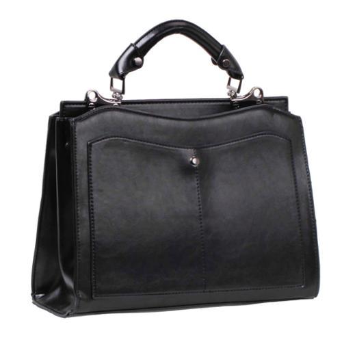 BMC Womens Black PU Leather Double Compartment Professional Shoulder Handbag