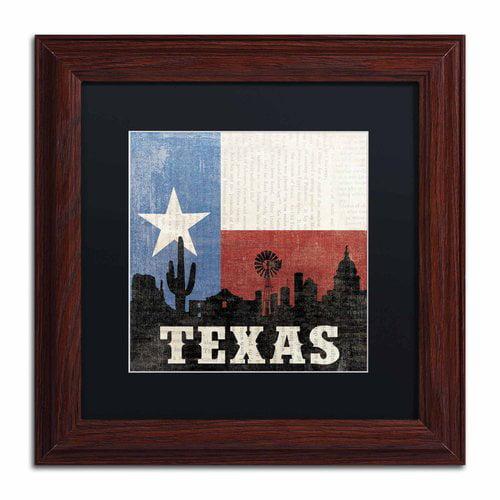 "Trademark Fine Art ""Texas"" Canvas Art by Moira Hershey, Black Matte, Wood Frame"