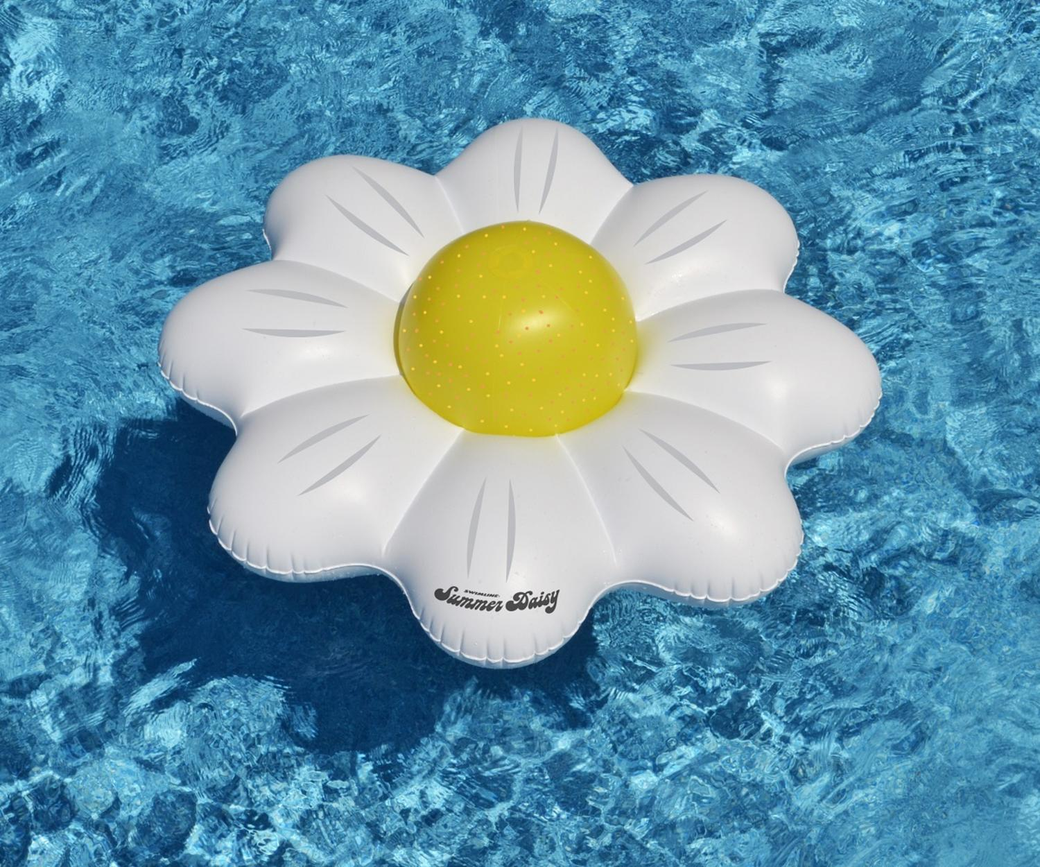"""48"""" White Summer Daisy Inflatable Novelty Swimming Pool Inner Tube with Yellow Polka Dot Beach Ball by Swim Central"""