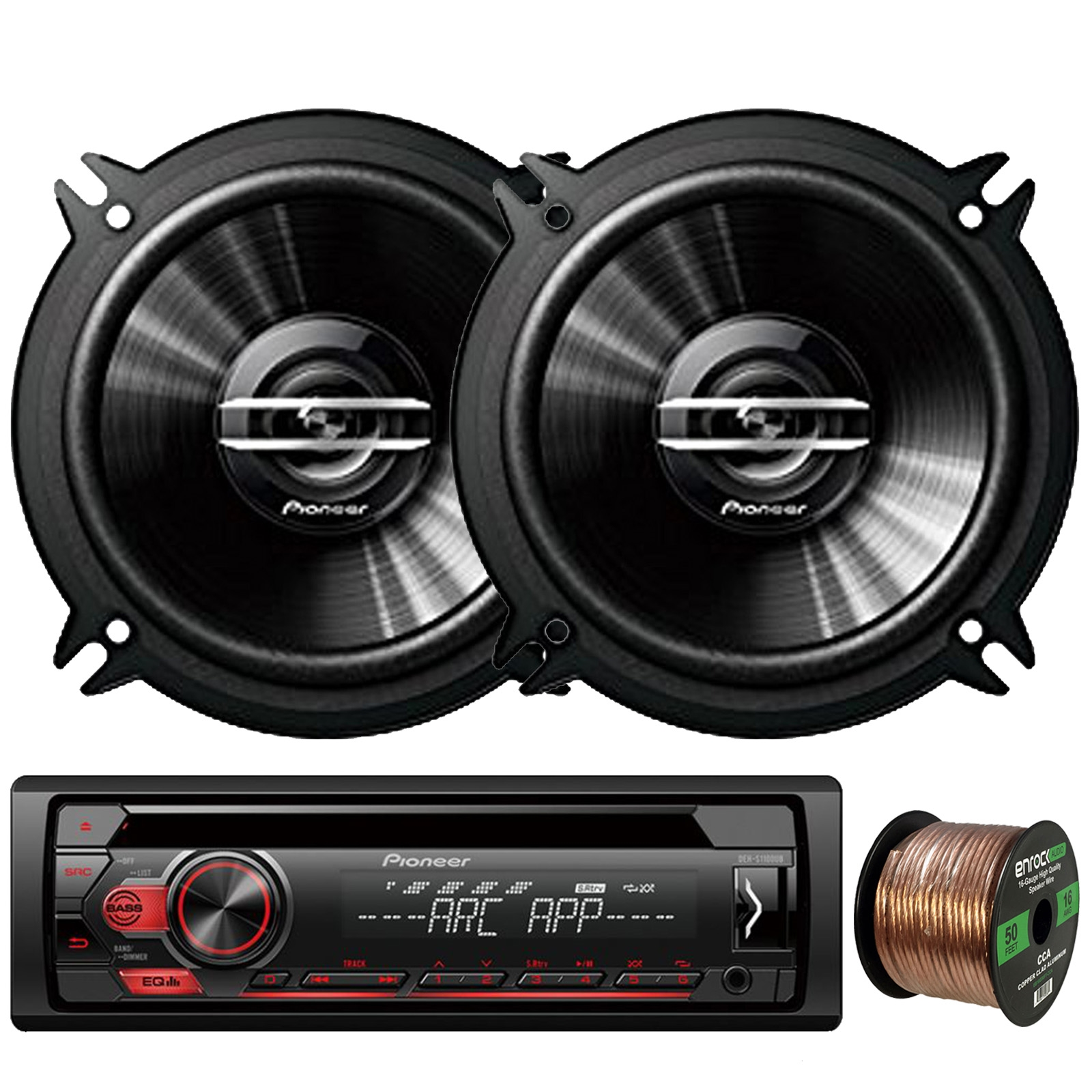 "Pioneer DEH-S1100UB Single-DIN CD Player AM/FM Car Stereo Receiver, 2 x Pioneer TS-G1320S 5.25"" 2-Way 250W Max Coaxial Car Speakers, Enrock Audio 16-Gauge 50Ft. CCA Speaker Wire"