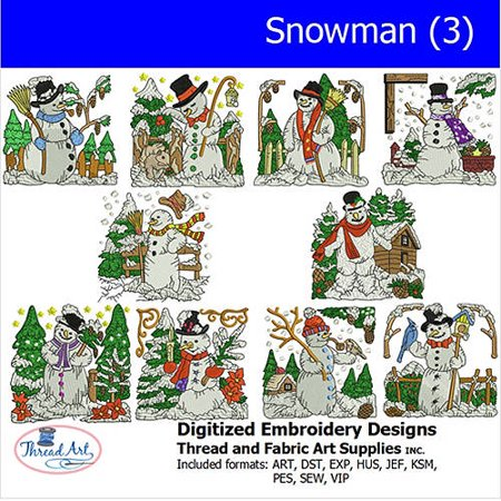 Threadart Machine Embroidery Designs Snowman (3) CD