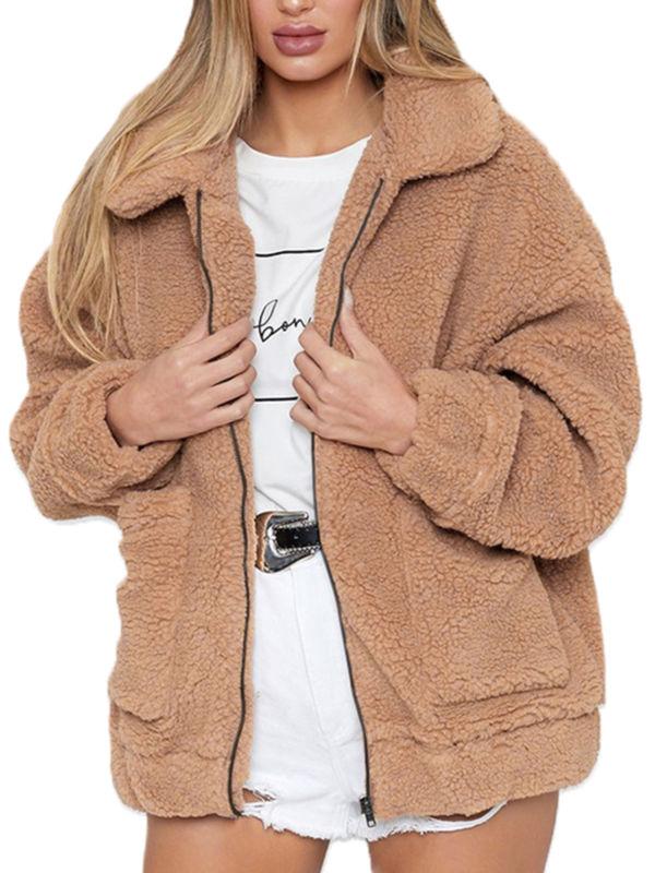 Women Winter Thick Teddy Bear Fluffy Coat Hooded Fleece Jacket Outwear Plus Size