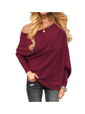 Product Image Women s Off Shoulder Knit Jumper Long Sleeve Pullover Baggy  Solid Sweater c0eee5113