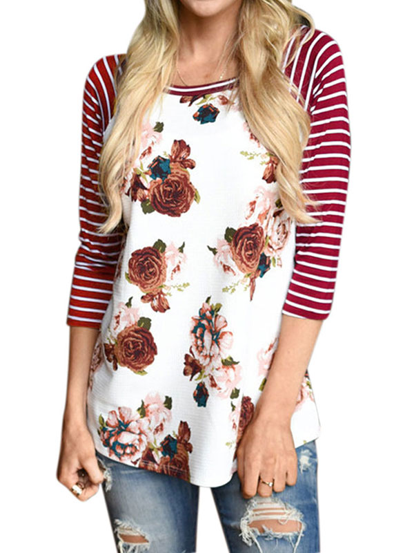 Nlife Women Striped 3/4 Sleeve Floral Print Shirt Blouse Tops