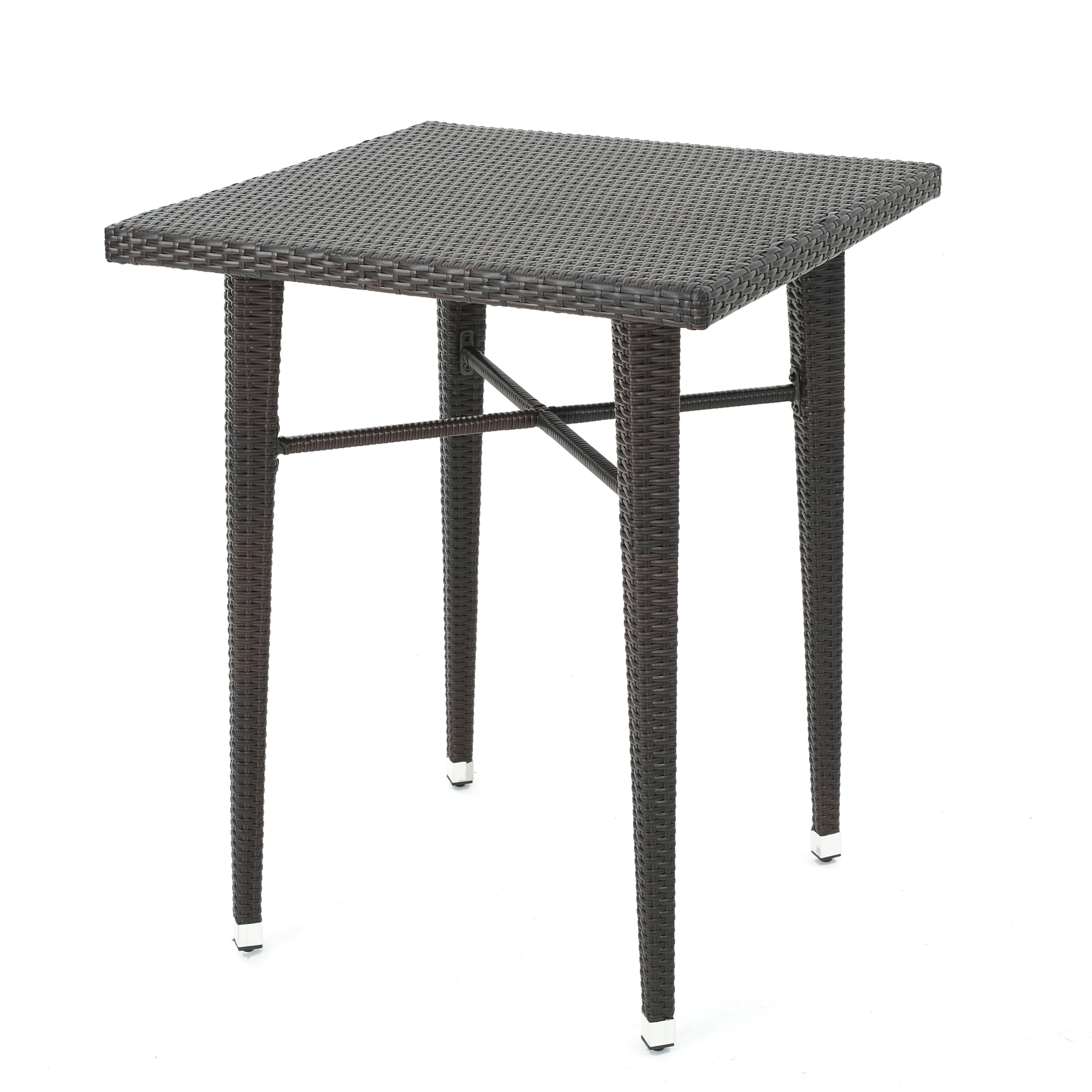 Dom Outdoor 32.5 Inch Square Wicker Bar Table, Multibrown