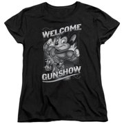 Trevco Mighty Mouse-Mighty Gunshow - Short Sleeve Womens Tee - Black, Extra Large