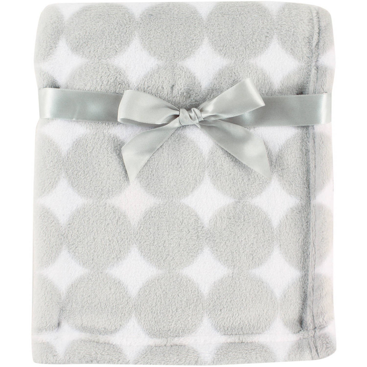 Luvable Friends Baby Boy and Girl Coral Fleece Blanket - Gray Dot