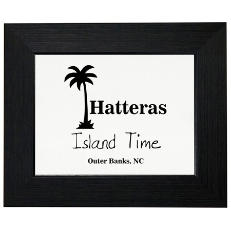 Outer Banks - Hatteras, NC - Island Time Palm Tree Framed Print Poster Wall or Desk Mount Options