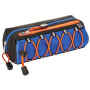Pen + Gear Athletic Bungee Polyester Pencil Pouch, Pencil Pouch, Blue and Orange