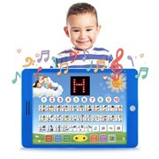 Spanish-English Tablet Bilingual Educational Toy with LCD Screen Display by Boxiki Kids. Touch-and-Teach Pad for Kids Learning S