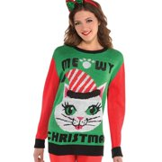 Christmas Cat Deluxe Adult Sweater (Small/Medium)