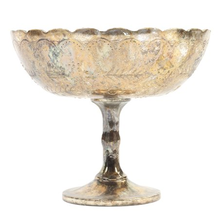 Koyal Wholesale Compote Bowl 8 x 6.75 Inch Centerpiece Mercury Glass Burnt Gold Pedestal Vase, Floral - Halloween Floral Centerpieces