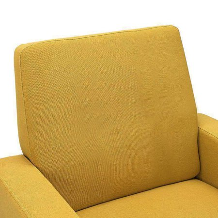 Dazone Modern Accent Fabric Chair Single Sofa Comfy Upholstered Arm Chair Living Room Yellow