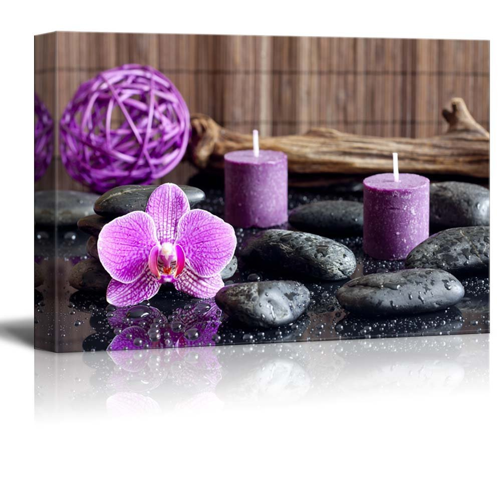 "wall26 - Canvas Prints Wall Art - Zen Stones with Purple Orchid and Calming Candles | Modern Wall Decor/Home Decoration Stretched Gallery Canvas Wrap Giclee Print. Ready to Hang - 32"" x 48"""