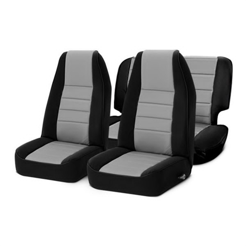 Smittybilt Neoprene Front and Rear Seat Covers with Black Sides / Charcoal Center 471022