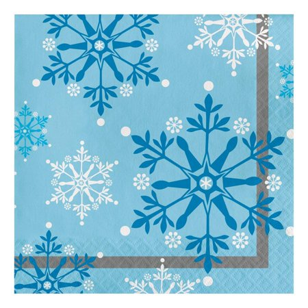 317148 Lunch Napkins, Multicolor, 16-Count package of 2-ply paper lunch napkins. Approximately 6.5 x 6.5-Inch folded; made in the USA. Wintery frozen pattern of blue.., By Creative Converting - Frozen Napkins