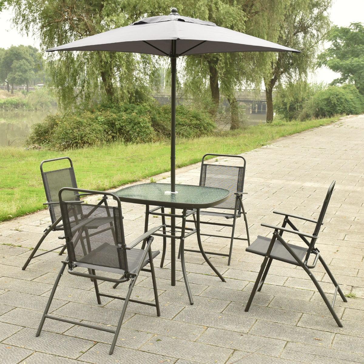 6 Pcs Patio Folding Furniture Set With Umbrella