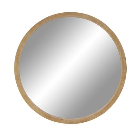 Decmode 32 Inch Rustic Wooden Round Wall Mirror Brown
