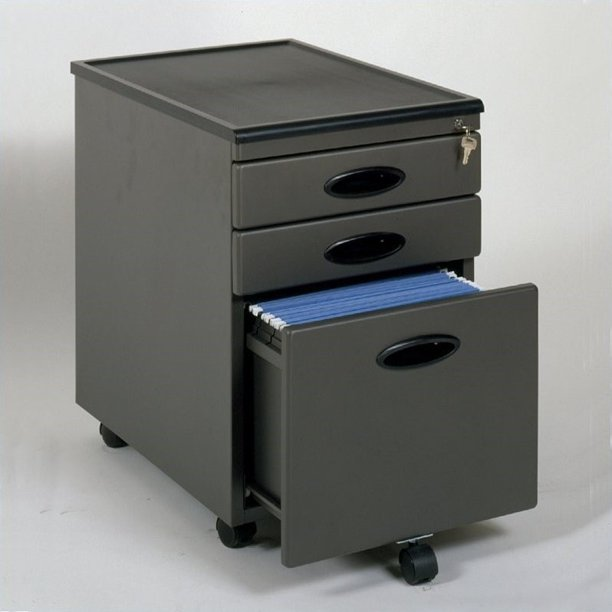 Mobile File Cabinet Pewter/Black by Studio RTA