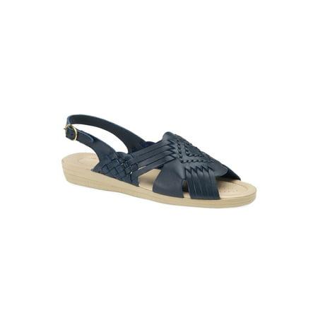 Softspots Womens Tela Leather Peep Toe Casual Slingback Sandals
